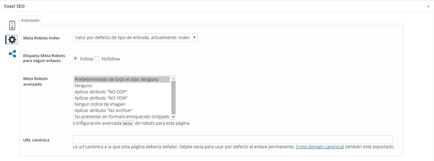 Configuración Yoast SEO de un artículo o pagina de WordPress con SEO YOAST, panel avanzado.