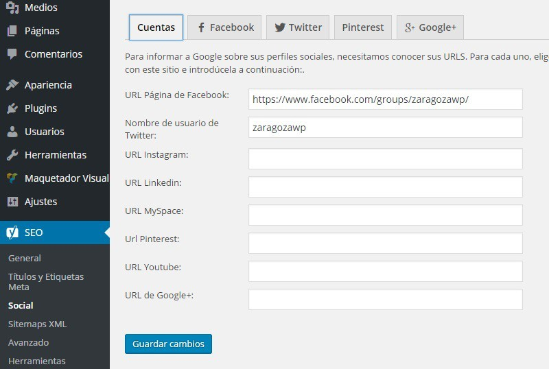 Yoast SEO social WordPress