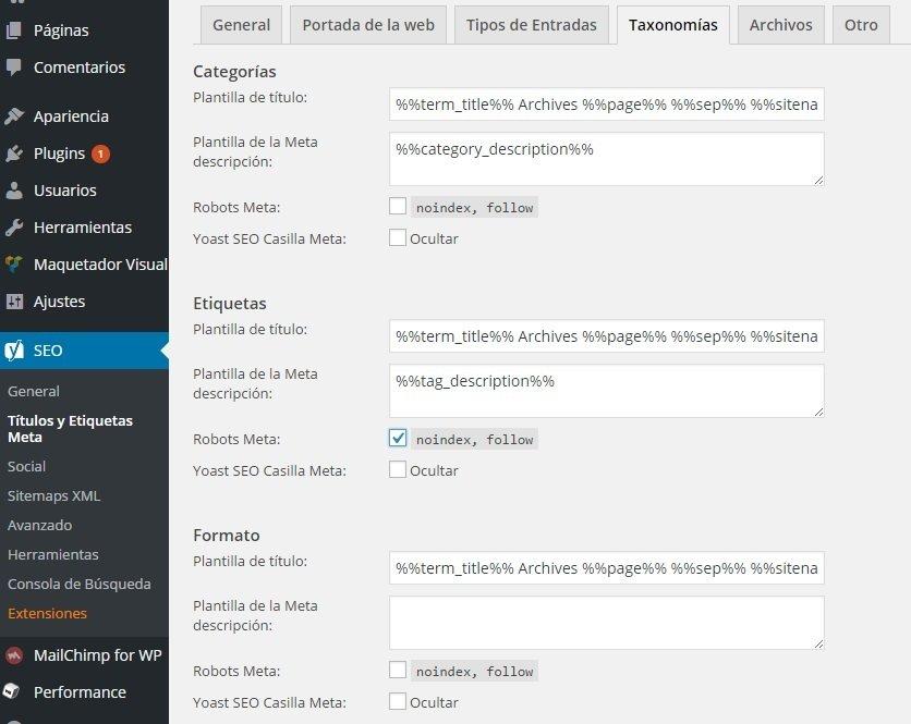 Yoast SEO títulos etiquetas meta WordPress